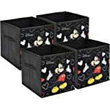 Fun Homes Disney Mickey Mouse Print Non Woven Fabric 4 Pieces Foldable Large Size Storage Cube Toy,Books,Shoes Storage Box wi