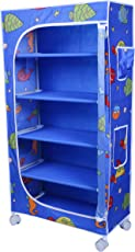 Little One's 5 Shelves Steel Structure Folding Wardrobe with Wheels – Aquatic Blue