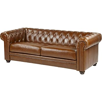 Tesco Mortimer Large 3 Seater Real Leather Chesterfield Sofa Tan