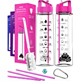 Water bottle with straw - Motivational water bottles with times to drink; time markings measurements for Sports Gym Office -
