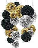 Recosis 18 Stück Seidenpapier Pompoms Blumen Ball Dekorpapier Kit für Geburtstag Hochzeit Baby Dusche Parteien Hauptdekorationen und Partei Dekoration - Schwarz, Gold und Silber