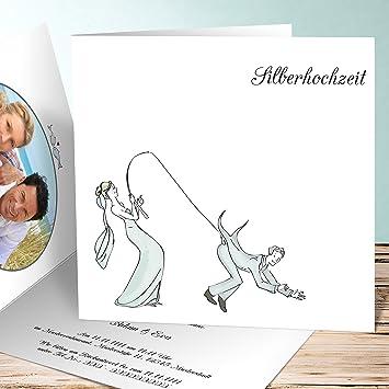 Lustige Einladungskarten Zur Silberhochzeit, Anglerglück 90 Karten,  Quadratische Klappkarte 145x145 Inkl. Weißer Umschläge