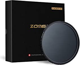 Zomei 49 millimetri di vetro ottico variabile densità neutra ND2 ND8 ND16 al filtro obiettivo ND400