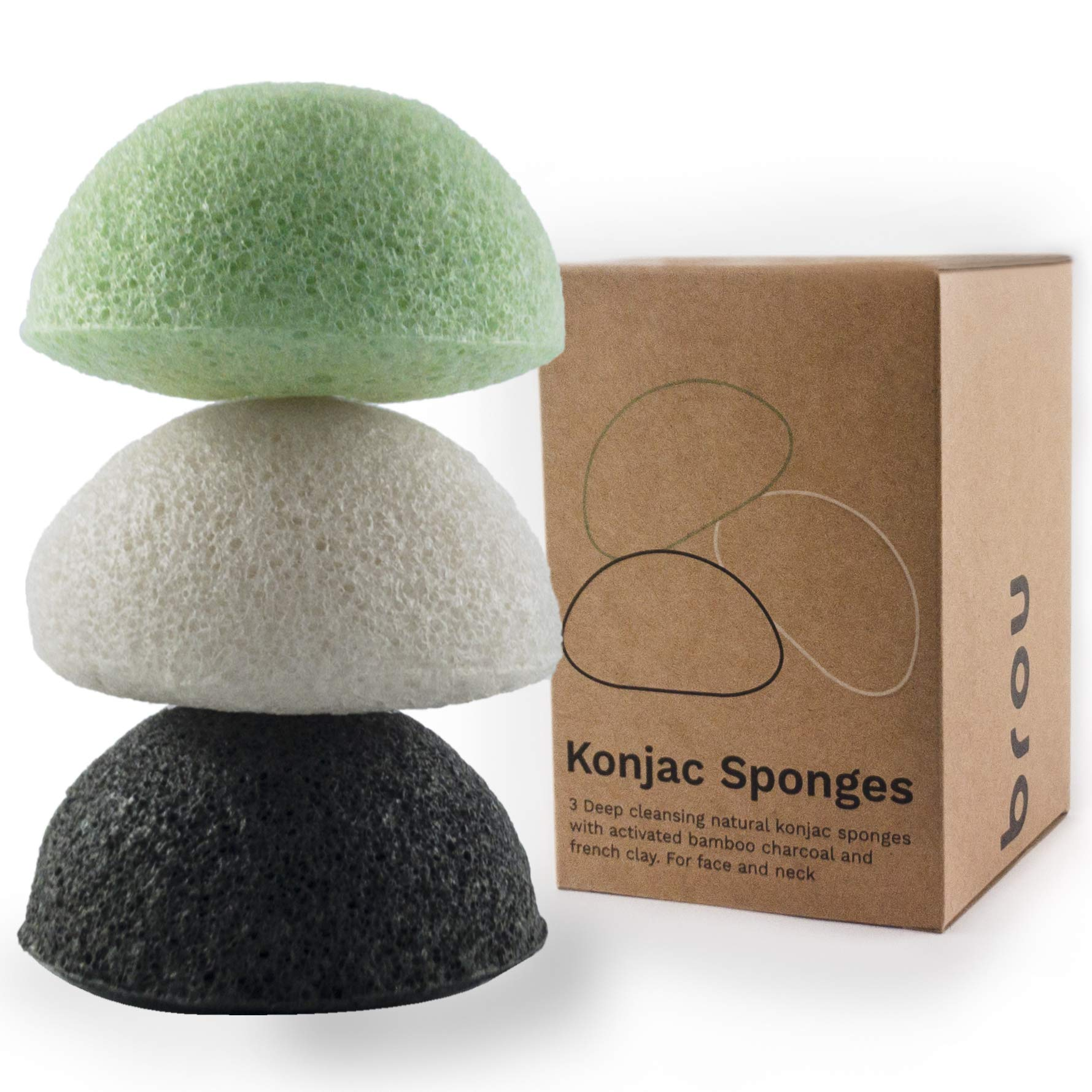 BROU | Premium Konjac Facial sponges | 3 pack | Organic | Biodegradable | Eco-friendly | Plastic-free |