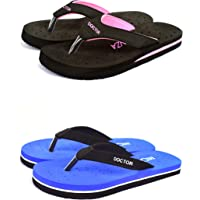 BEONZA Women Doctor Ortho Combo Pack of 2 Pair of Flip Flops Slippers