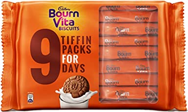 Bournvita Biscuits Crunchy Cookies Tiffin - 250 g (Pack of 9)