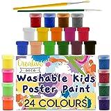 Creative Deco Temperas para Niños Lavable Pintura Dedos Bebes | 24 x 20 ml Botes | No Tóxica | Colores Básicos Fluorescentes