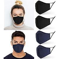 4 Pack Cotton Face Masks | Washable & Reusable | Filter Pocket & Adjustable Straps | UK Seller | 3 Layer Fabric Mask…