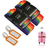 2 Pcs Luggage Strap ZoomSky Suitcase Belts Adjustable Travel Packing Belt Baggage Security Straps with Password Lock Clip and