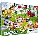 Pola Puzzles Farm Friends 60 Pieces Tiling Puzzles (Jigsaw Puzzles, Puzzles for Kids, Floor Puzzles), Puzzles for Kids…