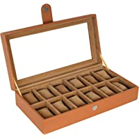 Leather World Leatherette Watch Box 12 Slots Both Small Large Dial Watches Fit Organizer Storage Boxes Case Men Women…