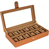 Leather World Leatherette Watch Box 12 Slots Both Small Large Dial Watches Fit Organizer Storage Boxes Case Men Women TAN