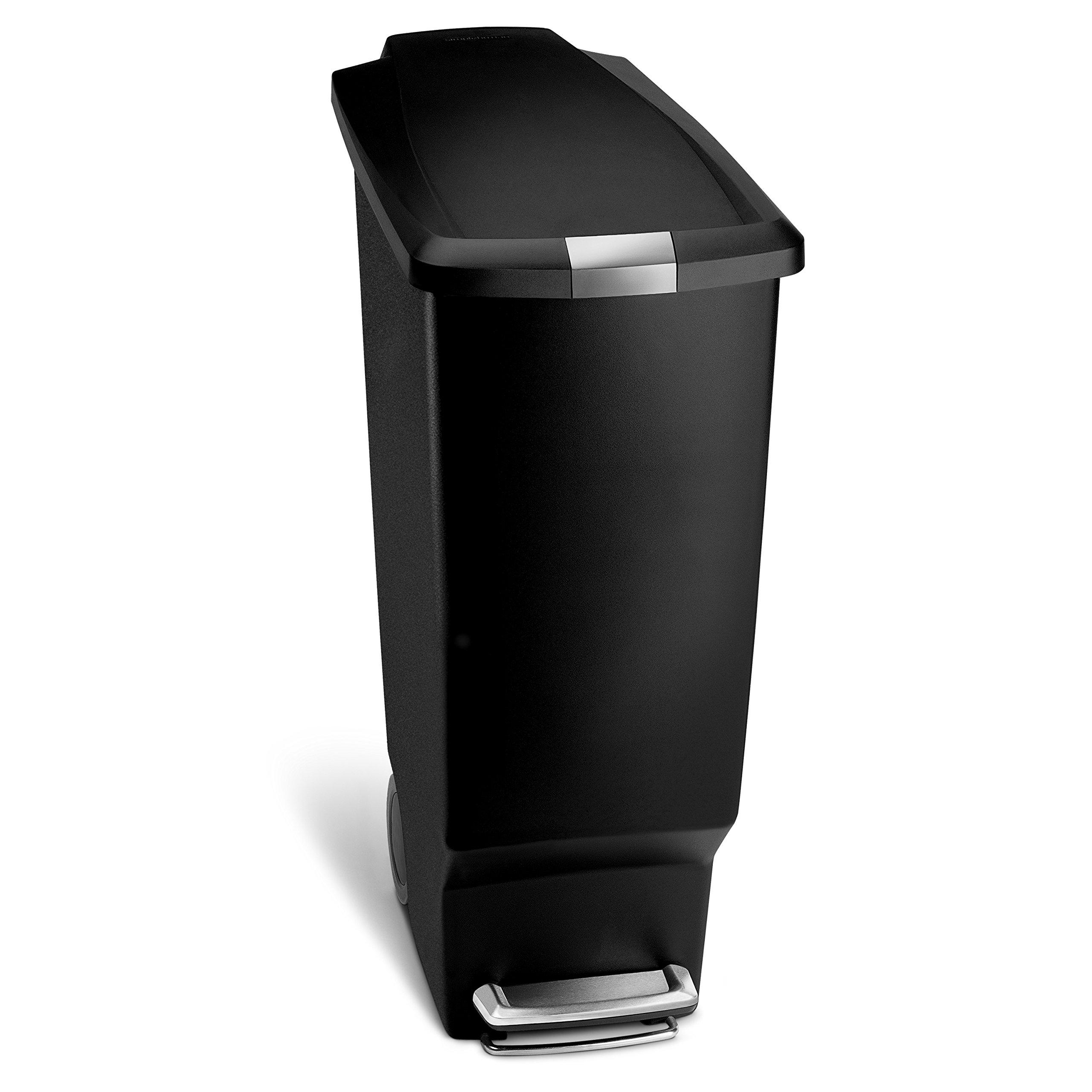 Simplehuman CW1361 - Secchio portarifiuti in plastica con ruote, coperchio con apertura a pedale e