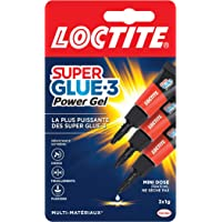 Loctite Super Glue-3 Power Gel Mini dose, colle forte enrichie en caoutchouc, mini-dose de colle gel ultra-résistante…