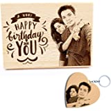 GFTBX Birthday Gifts Combo - Personalised Engraved Wooden Photo Plaque and Heart Shaped Personalized Wood Photo Keychain…