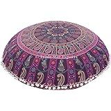 Großer Boden Kissenbezug, Baumwollleinen, Mandala 81,3 cm Indischen rund Pouf Polsterhocker, Boho kissenrollen, POM POM Außen Kissen
