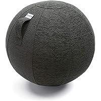 VLUV Ballon-siège STOV, siège Ergonomique, Couleur: Anthracite (Gris foncé), Ø 50cm - 55cm, Tissu d'ameublement de qualité supérieure, Robuste et indéformable avec Une poignée de Transport