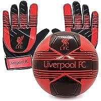 Liverpool FC Junior Size 4 Football & Goalkeeper Goalie Gloves Set OFFICIAL Gift
