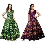 Madanam Women's Cotton Jaipuri Printed Maxi Long Dress (Multicolour, Free Size) Combo pack of 2