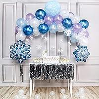 PartyWoo Frozen Party Ballon, Schneeflocken Deko Satz von Luftballons Blau, Hell Lila Luftballons, Hellblaue Luftballons…
