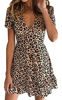 a2468aff14f480 ECOWISH Damen Kleider V-Ausschnitt A-Linie Sommerkleid Leopard Rüschen  Freizeitkleid Kurzarm Mini Strandkleid