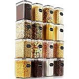 Wildone Lot de 16 boîtes de conservation hermétiques pour aliments secs et céréales 1,6 L, pour sucre, farine et ingrédients