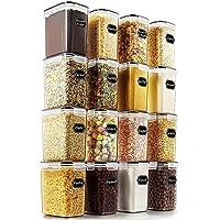 Wildone Lot de 16 boîtes de conservation hermétiques pour aliments secs et céréales 1,6 L, pour sucre, farine et…