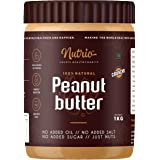 Nutrio 100% Natural Peanut Butter Unsweetened 1KG (Crunchy) || Made with 100% Roasted Peanuts | No Added Sugar | No Added Sal