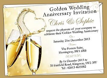 Personalised Golden Wedding Anniversary Invitations (Design Code ...