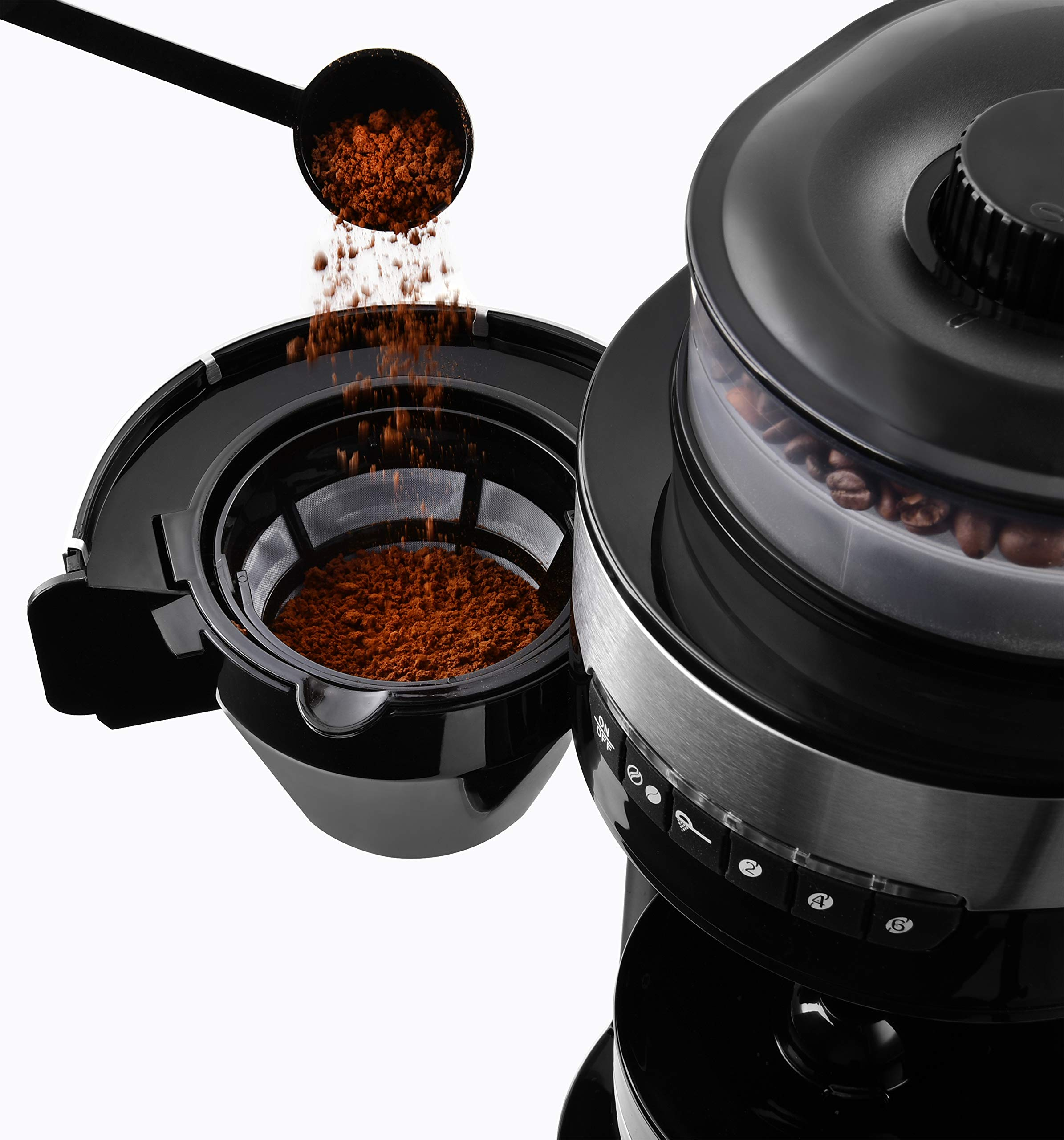 Venga-VG-CCG-3006-Kaffeemaschine-mit-Mahlwerk-750-W-Glas-Kunststoff-Edelstahl-850-ml-Schwarz
