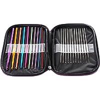 LIHAO Lot Mélangé de 22pcs Crochets Aiguilles à Tricoter Multicolores en Aluminium & Acier dans Une Pochette Violette