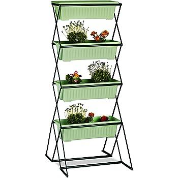 Relaxdays Vertikalbeet Mit 4 Blumenkasten Stahl Indoor Outdoor