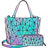 LOVEVOOK Geometrische Handtasche Geldbörse Set für Damen, Leuchtende Henkeltasche Schultertasche Holographic Damentaschen Pur