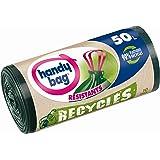 Handy Bag Rouleaux de 10 Sacs Poubelle 50 L, Poignées Coulissantes, Recyclés, Résistant, Anti-Fuites, 68 x 73 cm, Vert Foncé,
