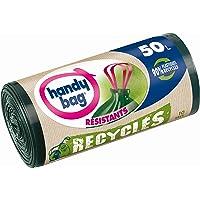 Handy Bag Rouleaux de 10 Sacs Poubelle 50 L, Poignées Coulissantes, Recyclés, Résistant, Anti-Fuites, 68 x 73 cm, Vert…