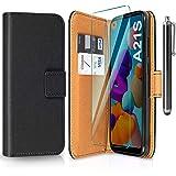 ivencase Funda Compatible con Samsung Galaxy A21s y Protector de Pantalla y Pen, Libro Caso Cubierta la Tapa magnética Protec
