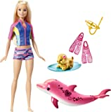 Barbie La Magie des Dauphins poupée Blonde avec figurine de chien, dauphin sonore, et accessoires, jouet pour enfant, FRD63