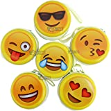 Toyshine Smiley Emoji Metal Tin Pouch for Earphone, Coins, Birthday Return Gifts (Pack of 12)