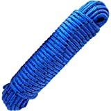 Green Home - Kabel 8 mm 20 m polypropyleen touw blauw / zwart - Breukbelasting: 700kg, 20 m x 8 mm