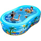 iBaseToy Inflatable Swimming Pool, 240 x 150 x 60cm Large Family Inflatable Pool for Kids Adults Babies Toddlers, Family Padd