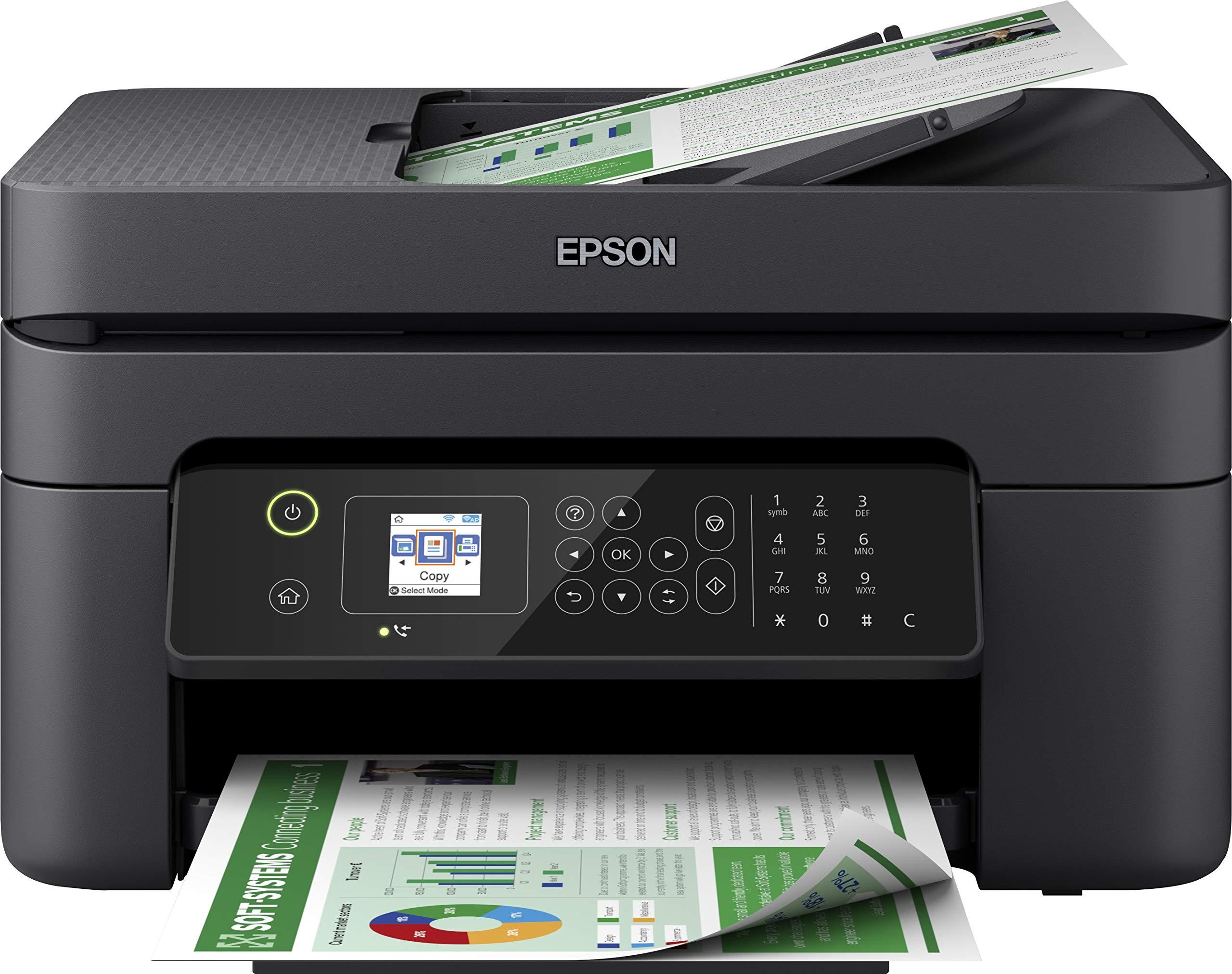 Epson WorkForce WF-2830DWF – Impresora multifunción de inyección de tinta 4 en 1 (impresora, escáner, copia, fax, ADF, WiFi, dúplex, cartuchos individuales, DIN A4), color negro