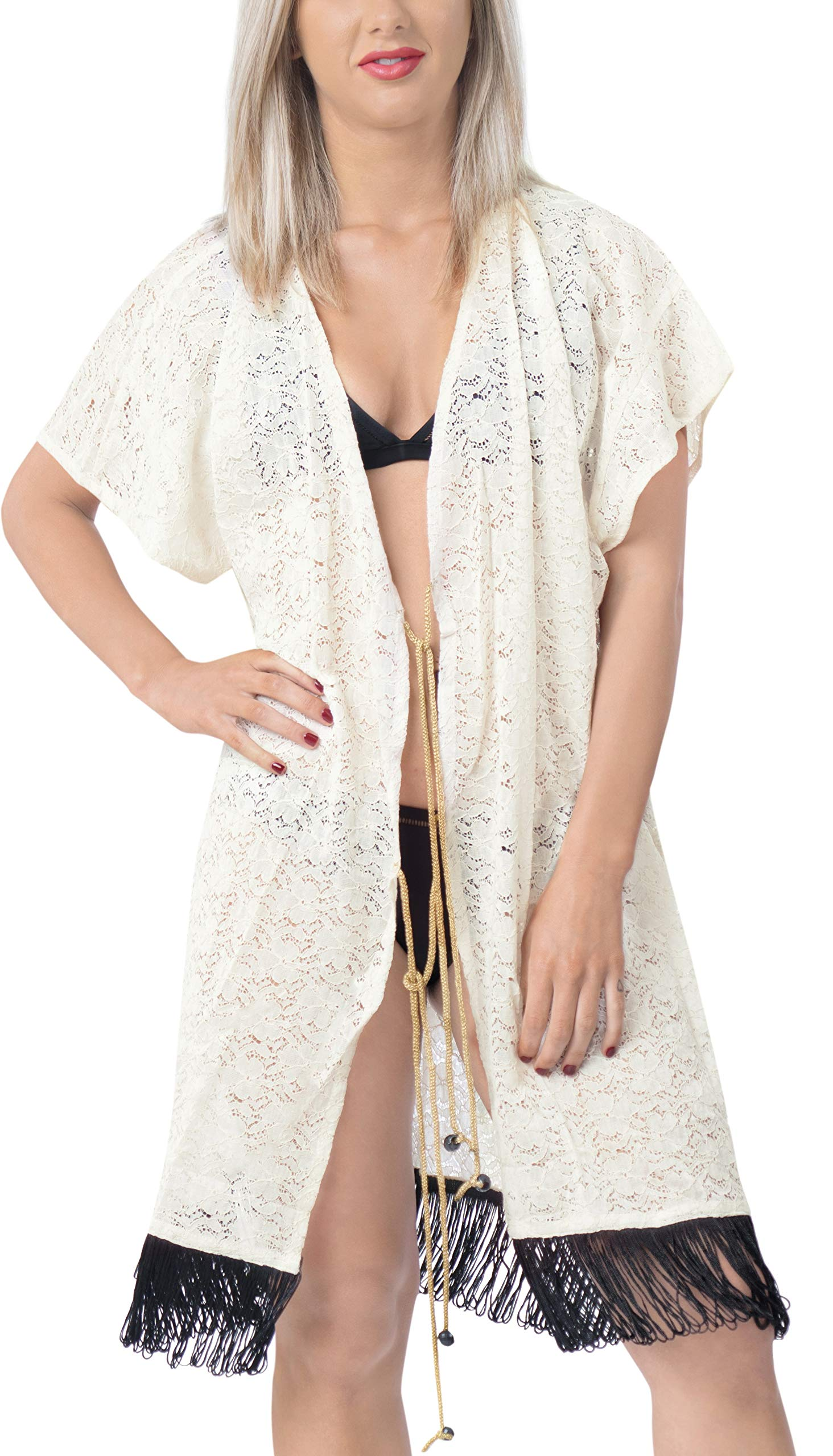 LA LEELA Copricostume Mare Cardigan Donna Taglie Forti- Vintage Chiffon Estivo Scialle Elegante Solido Kimono Vestito… 2 spesavip
