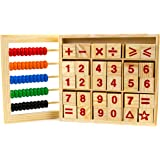 Abacus Study Blocks Wood - Promote Learning Calculations - 50 Beads and 30 Blocks - Great for Gifting Purpose