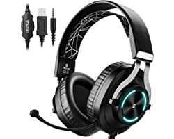 EKSA E3000 Gaming Headphones Wired with Stereo, Gaming Headset with Noise Cancelling Mic, LED Light, Over-Ear Headphones with
