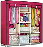 Unique Gadget Fancy & Portable Fabric Collapsible Foldable Clothes Closet Wardrobe Storage Rack Organizer Cabinet…
