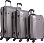 PARAJOHN Hardside 3-Piece Trolley Luggage Set Champagne