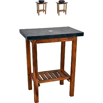 waschtisch waschbeckenunterschrank tisch badm bel badezimmerm bel teakholz hellbraun 60 cm. Black Bedroom Furniture Sets. Home Design Ideas