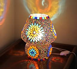 Tied Ribbons Multicolour Mosaic Style Dome Shaped Glass Table Lamp