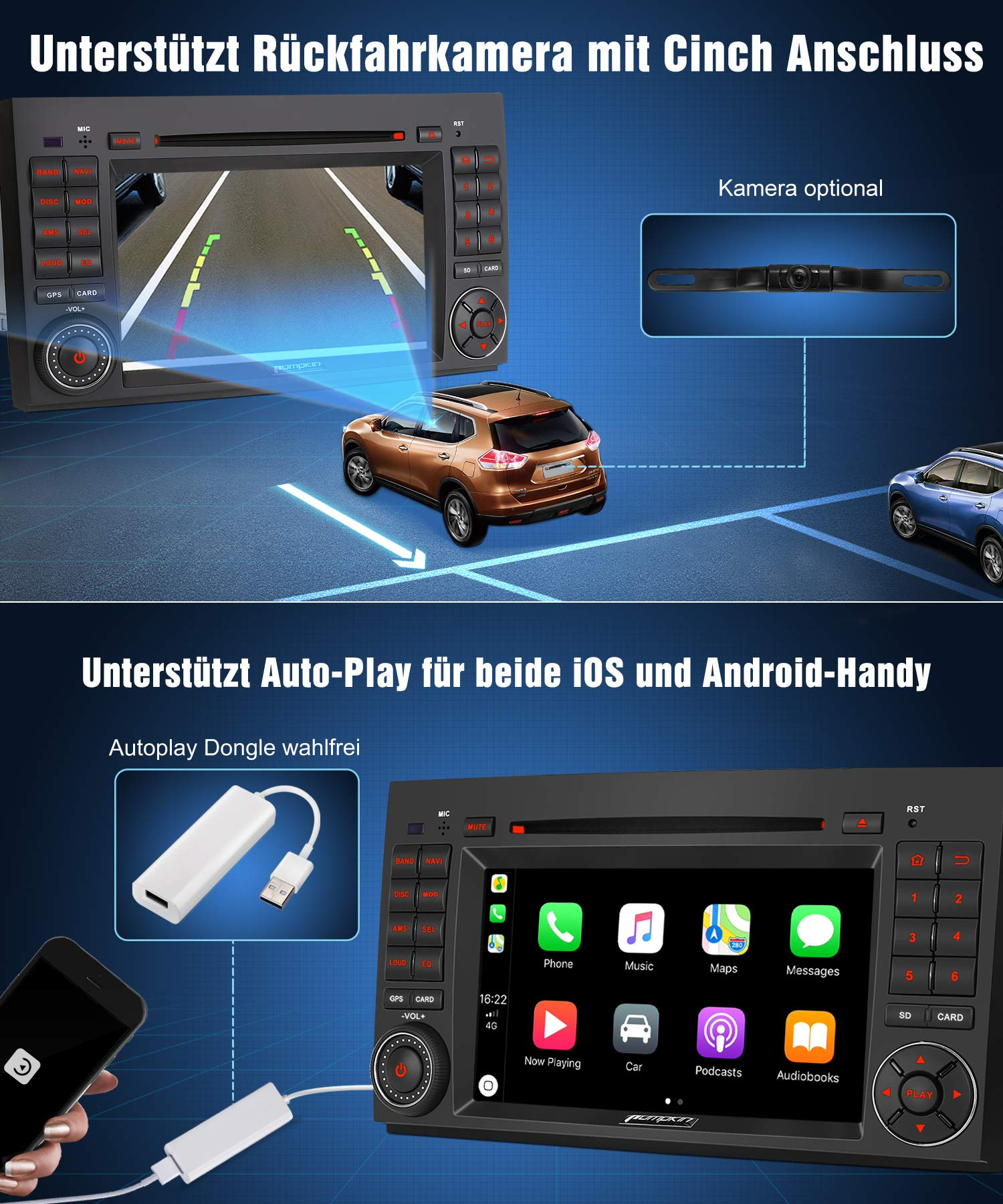 Pumpkin-Android-80-Autoradio-Radio-fr-Mercedes-Benz-A-KlasseB-KlasseVito-mit-Navi-Untersttzt-Bluetooth-DAB-USB-CD-DVD-Android-Auto-WLAN-4G-MicroSD-2-Din-7-Zoll-Bildschirm