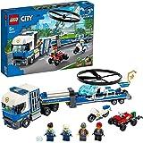 LEGO 60244 City LeTransportdel'hélicoptèredelaPolice avec VTT Quad, Moto et Camion avec remorque
